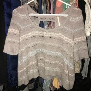 Free People Crop Sweater Knit Taupe pink ivory